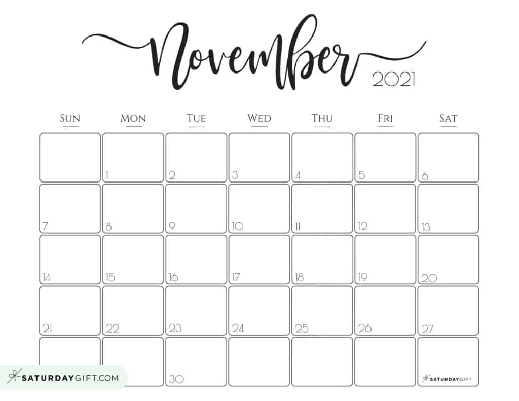 Elegant November 2021 calendar Free Printable Horizontal Sunday-Start
