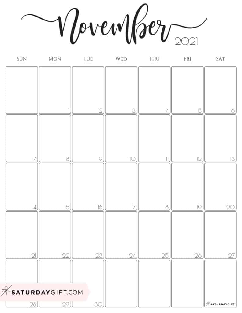 Elegant November 2021 calendar Free Printable Vertical Sunday-Start