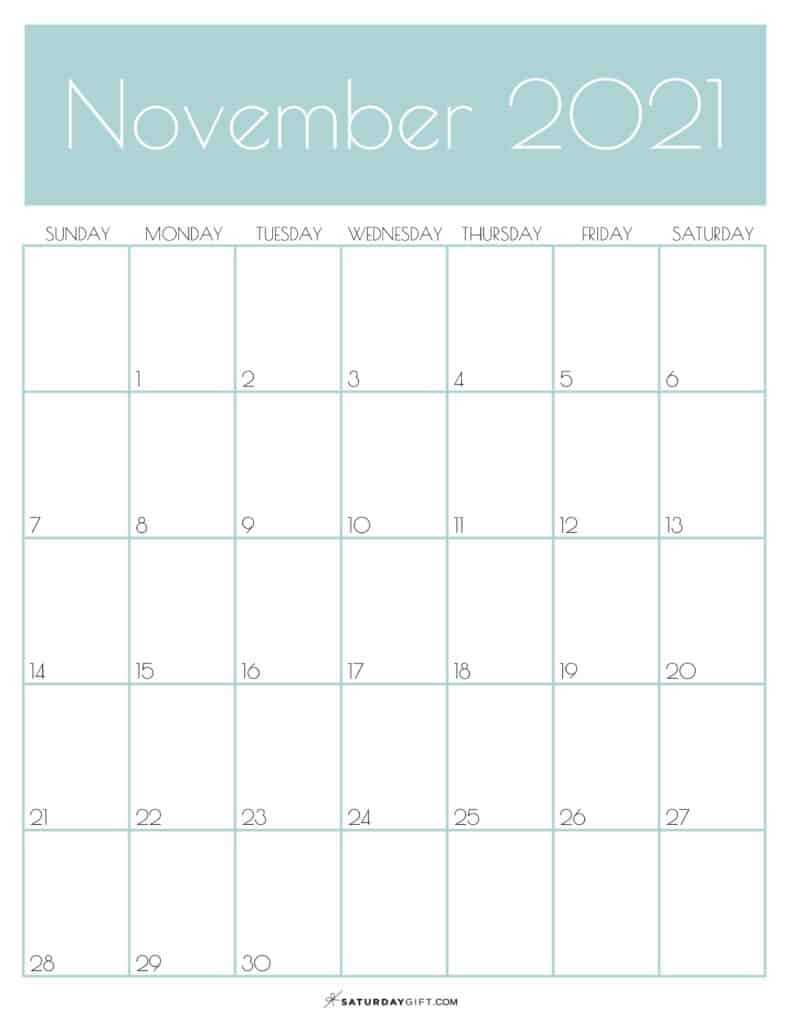 Green Monthly Goals November 2021 Calendar Vertical Sunday-start | SaturdayGift