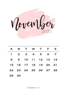 11 Monthly Calendar Pink Brush November 2020 | SaturdayGift