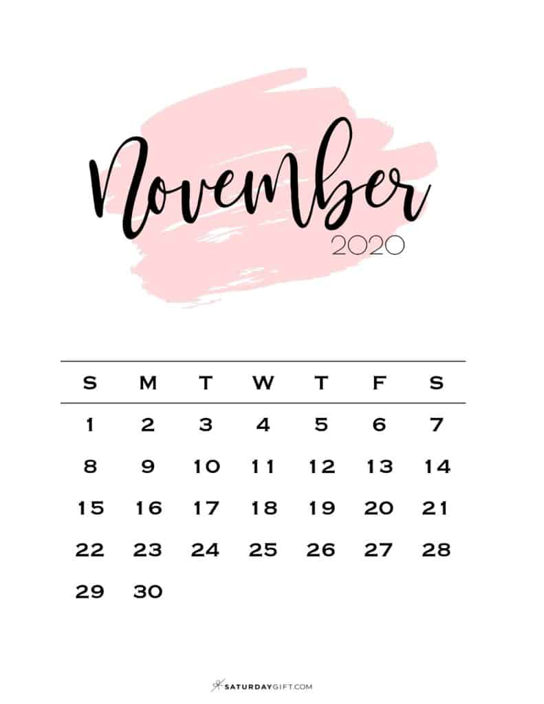 11 Monthly Calendar Pink Brush November 2020 | SaturdayGift