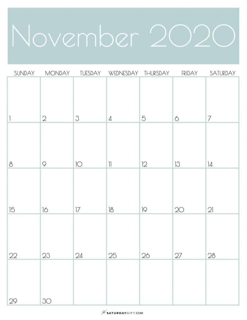 Monthly Calendar November 2020 Jungle Mist | SaturdayGift