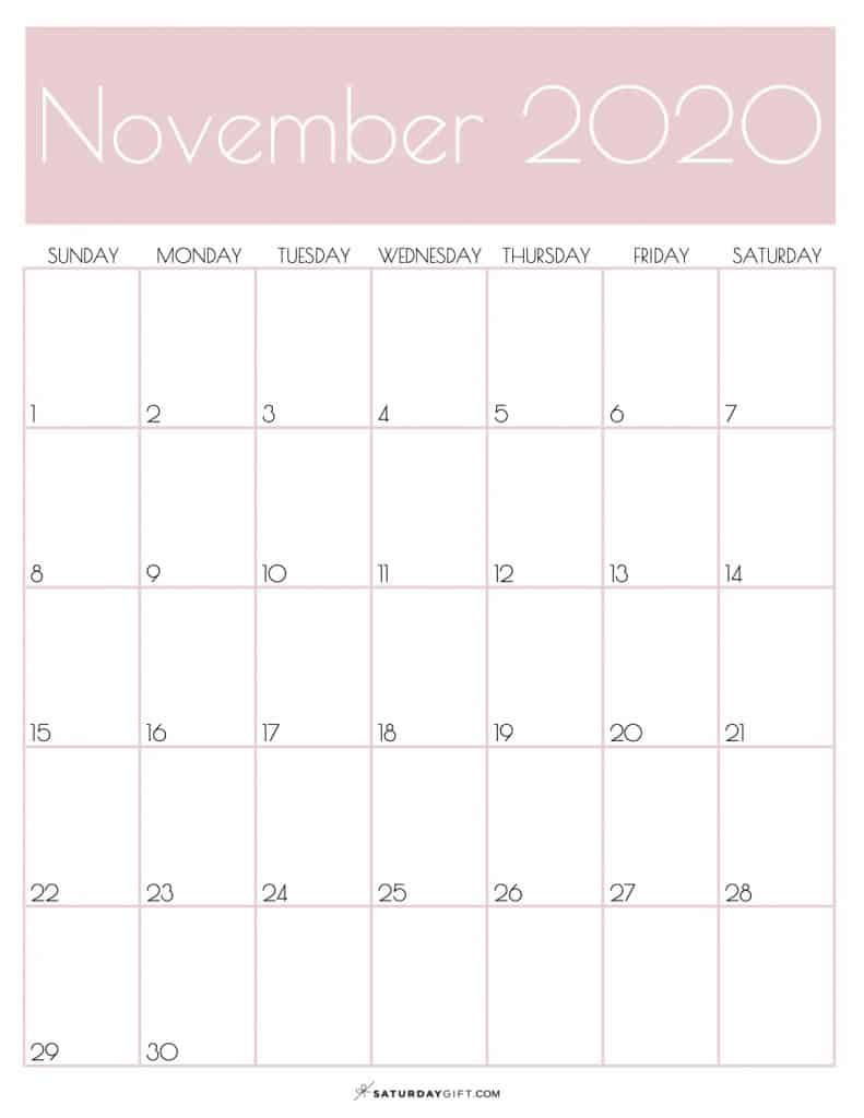 Monthly Calendar November 2020 Rose Gold | SaturdayGift