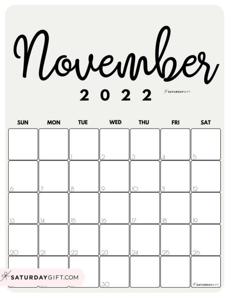 Cute Printable November 2022 Calendar by Month Beige Vertical Sunday-start | SaturdayGift