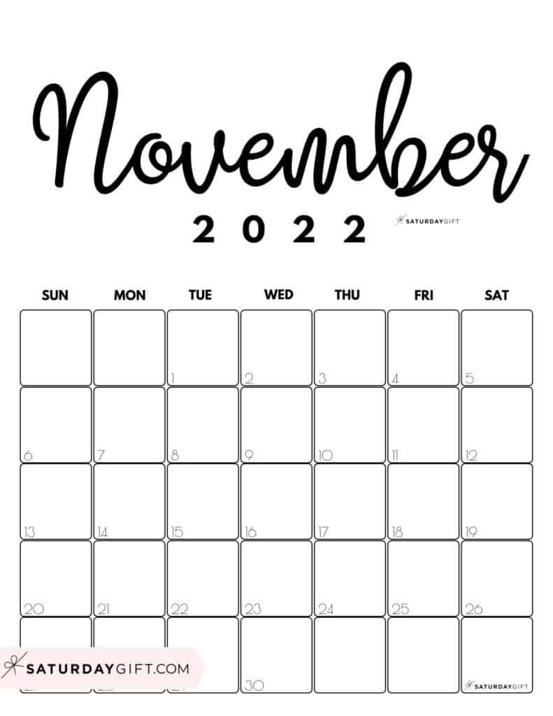 Cute Printable November 2022 Calendar by Month Black & White Vertical Sunday-start | SaturdayGift