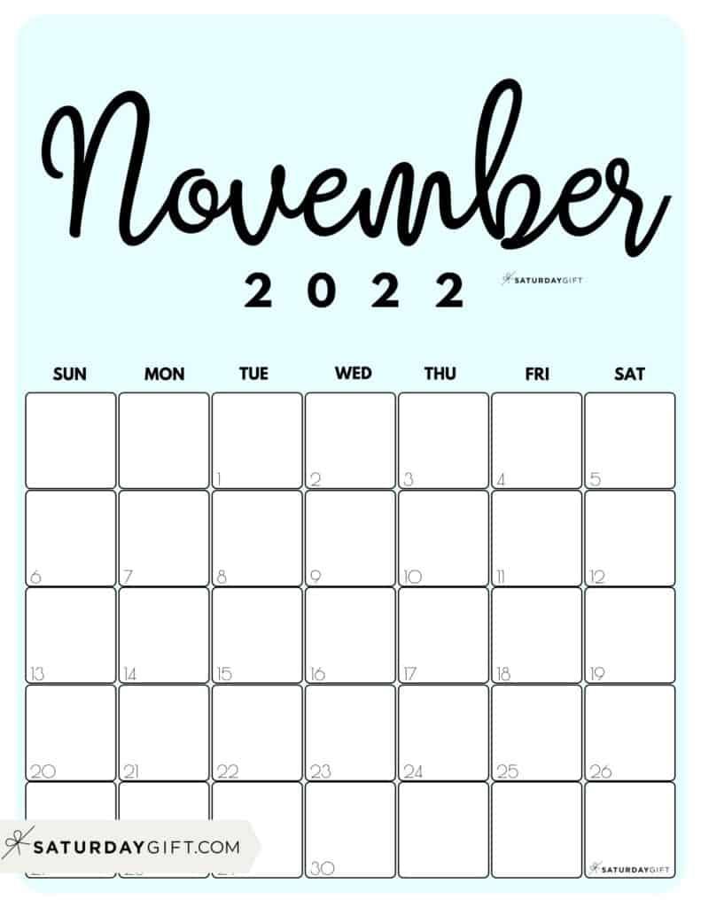 Cute Printable November 2022 Calendar by Month Blue Vertical Sunday-start | SaturdayGift