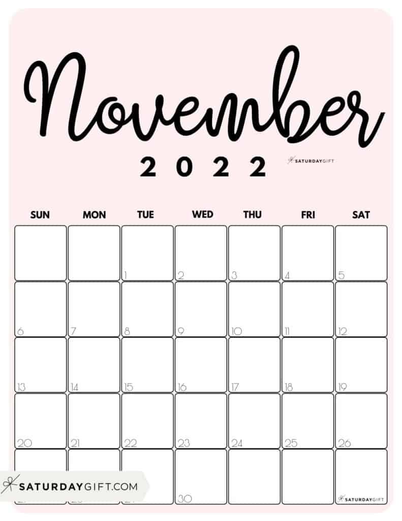 Cute Printable November 2022 Calendar by Month Pink Vertical Sunday-start | SaturdayGift