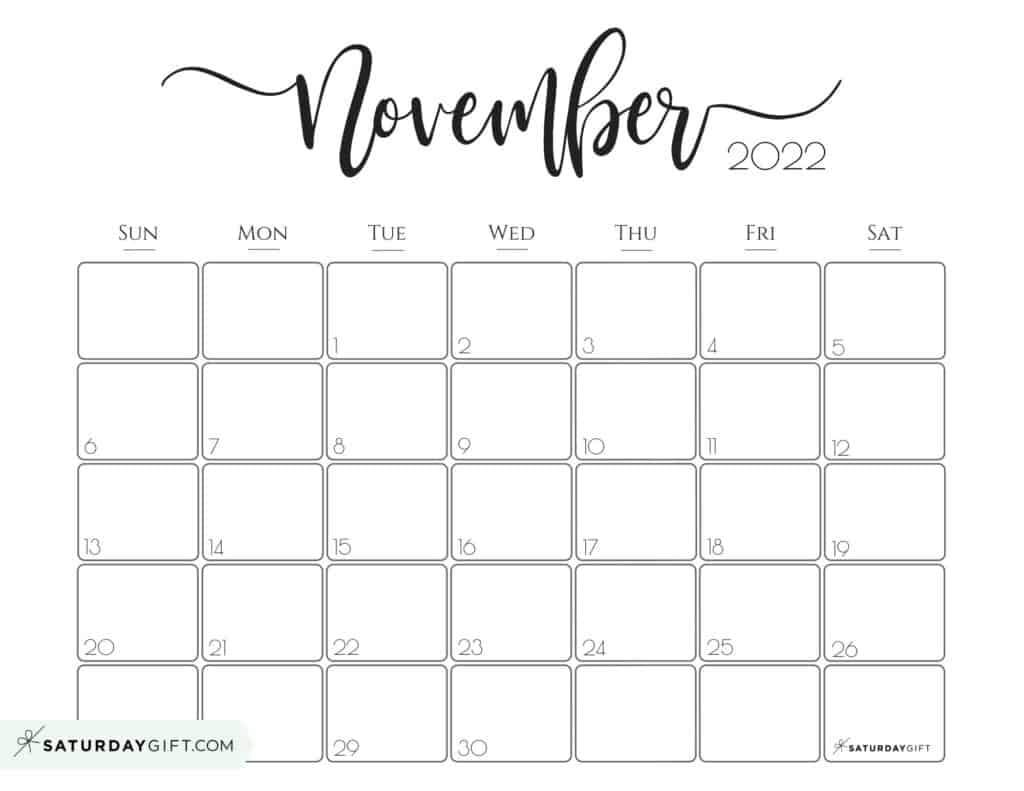 Elegant November 2022 calendar Free Printable Horizontal Landscape Black & White Sunday-Start | SaturdayGift
