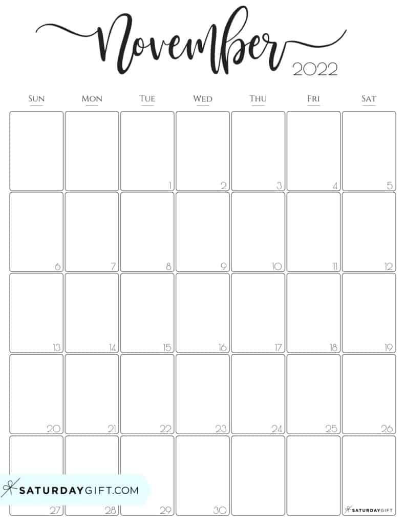 Elegant November 2022 calendar Free Printable Vertical Portrait Black & White Sunday-Start | SaturdayGift