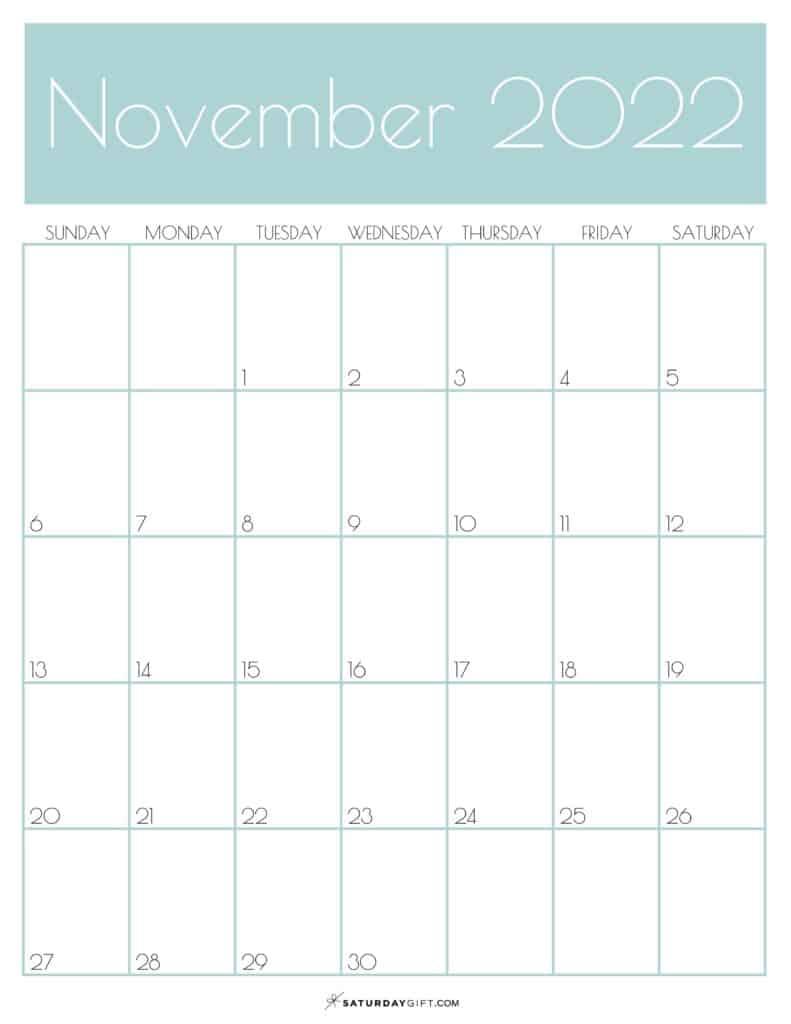 Green Monthly Goals November 2022 Calendar Vertical Sunday-start | SaturdayGift