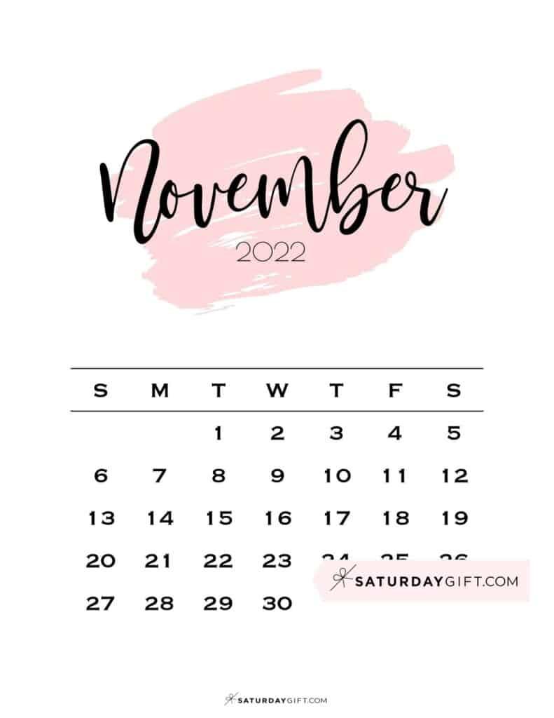 Monthly November 2022 Calendar Minimalistic Pink Brush | SaturdayGift
