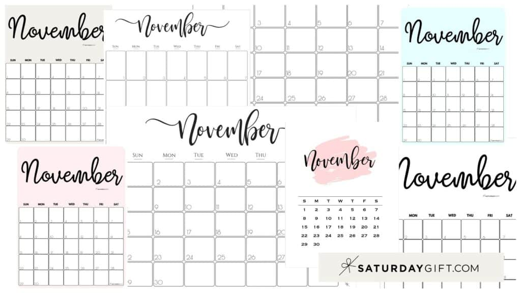 Cute & Free Printable November Monthly Calendars Featured Collage Image