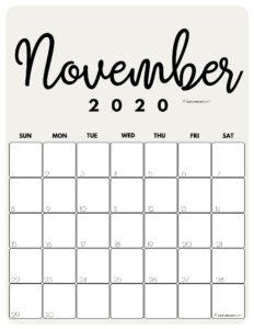 November 2020 Cute Monthly Calendar Beige PDF | SaturdayGift