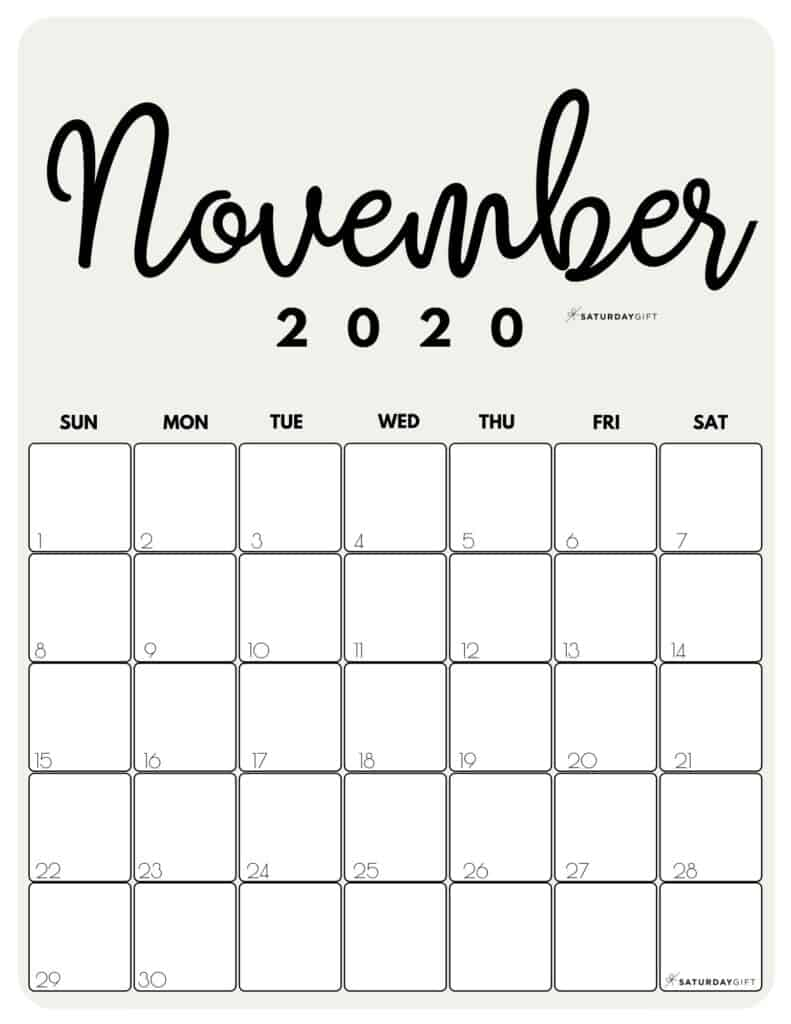 November 2020 Cute Monthly Calendar Beige PDF | SaturdayGift