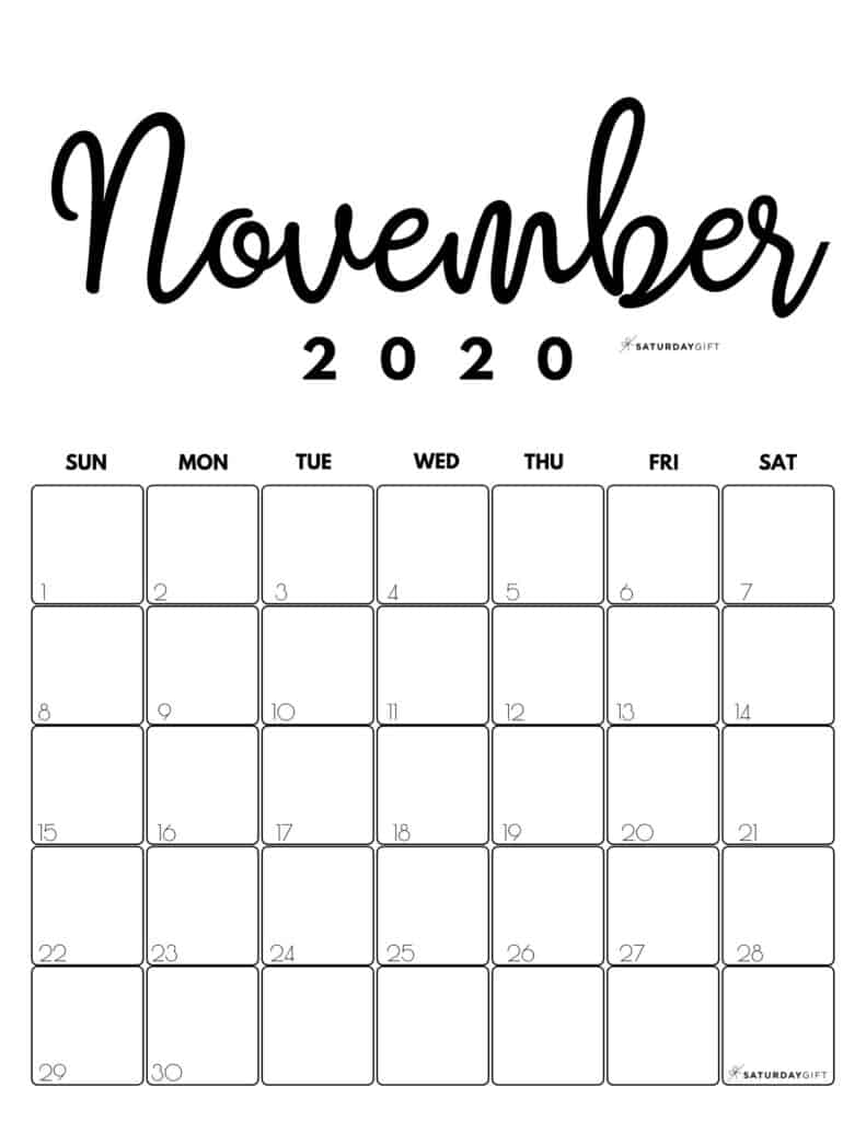 November 2020 Cute Printable calendar by month Black and White PDF | SaturdayGift