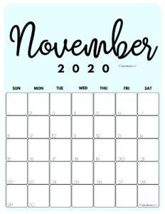 November 2020 Cute Monthly Calendar Blue PDF | SaturdayGift