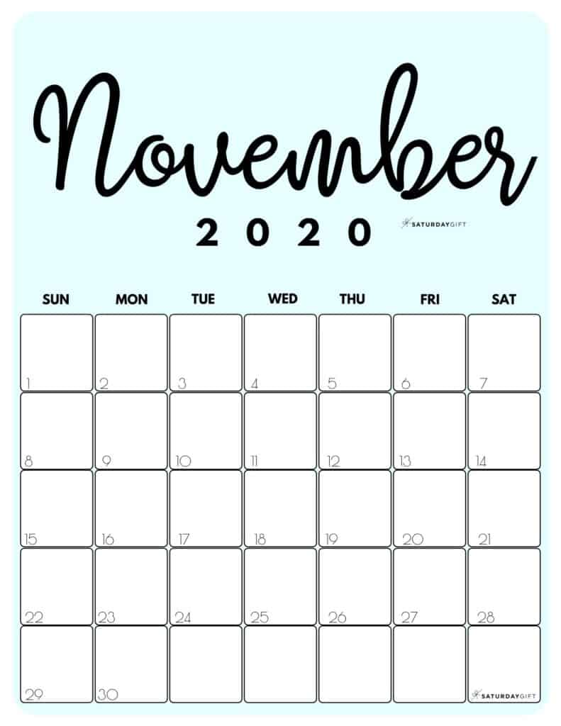 November 2020 Cute Monthly Calendar Blue PDF | SaturdayGift
