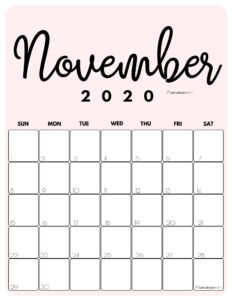 November 2020 Cute Monthly Calendar Pink PDF | SaturdayGift