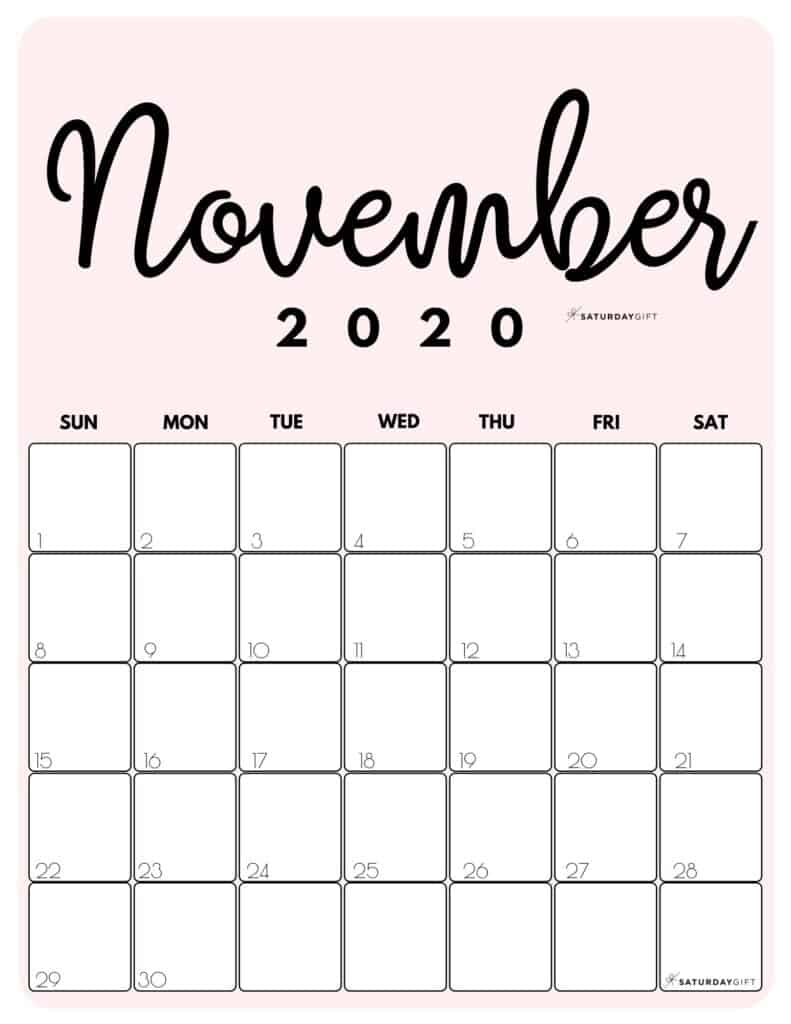 November 2020 Cute Monthly Calendar Pink PDF | SaturdayGift