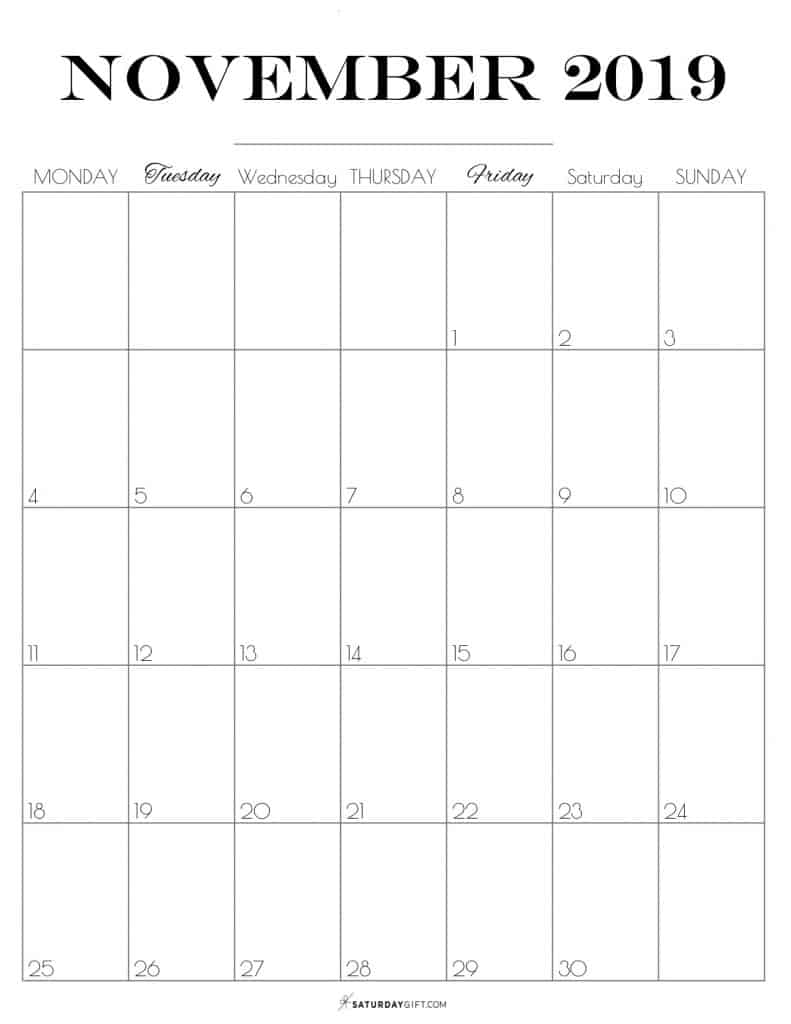 Pretty printable November 2019 Calendar vertical Monday start Dated {Free Printables} | SaturdayGift