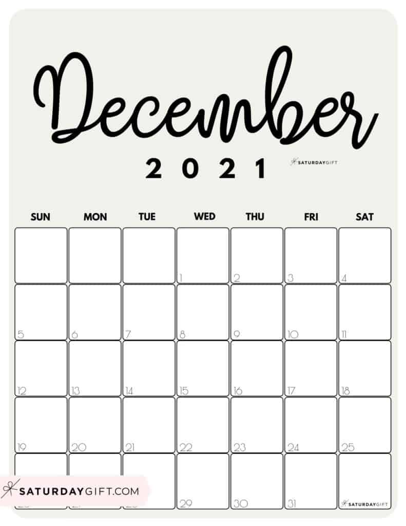 Elegant Beige Printable December 2021 Calendar by Month Vertical Sunday-start by SaturdayGift
