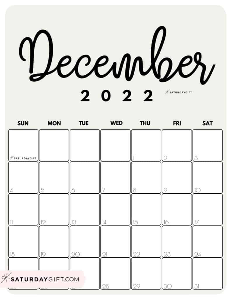 Cute Printable December 2022 Calendar by Month Beige Vertical Sunday-start   SaturdayGift
