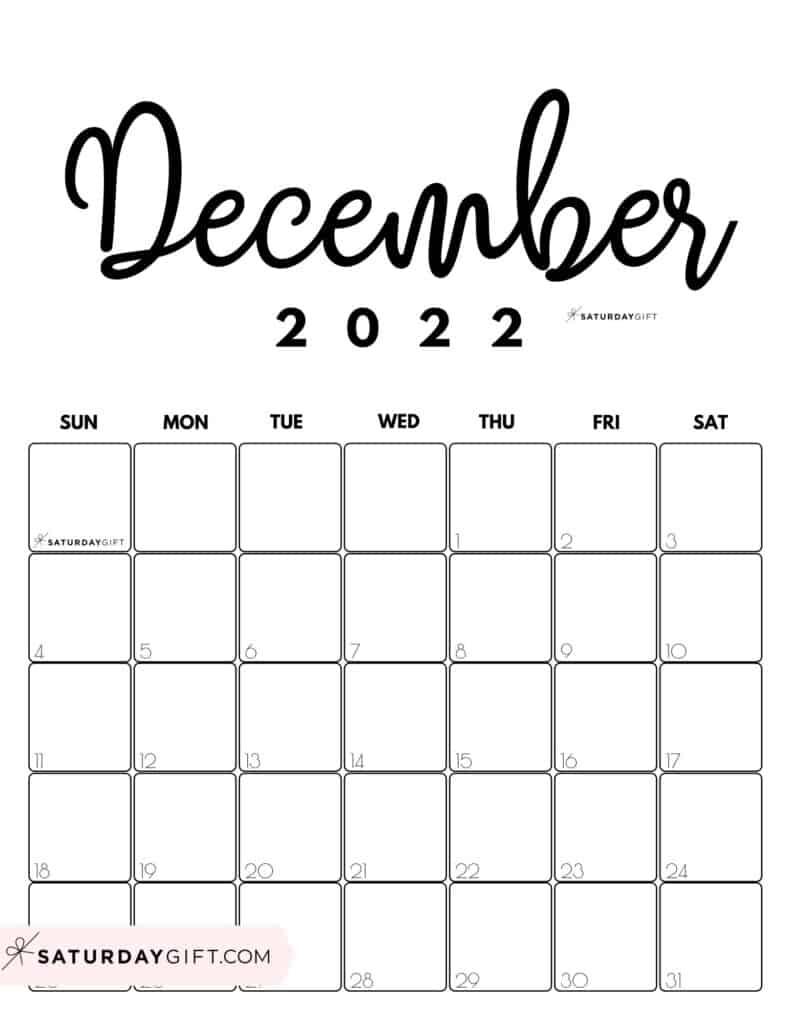 Cute Printable December 2022 Calendar by Month Black & White Vertical Sunday-start   SaturdayGift