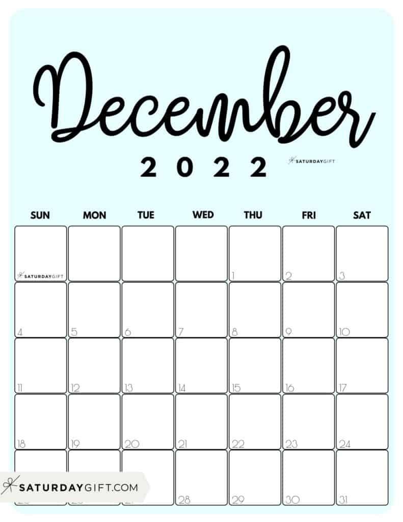 Cute Printable December 2022 Calendar by Month Blue Vertical Sunday-start   SaturdayGift