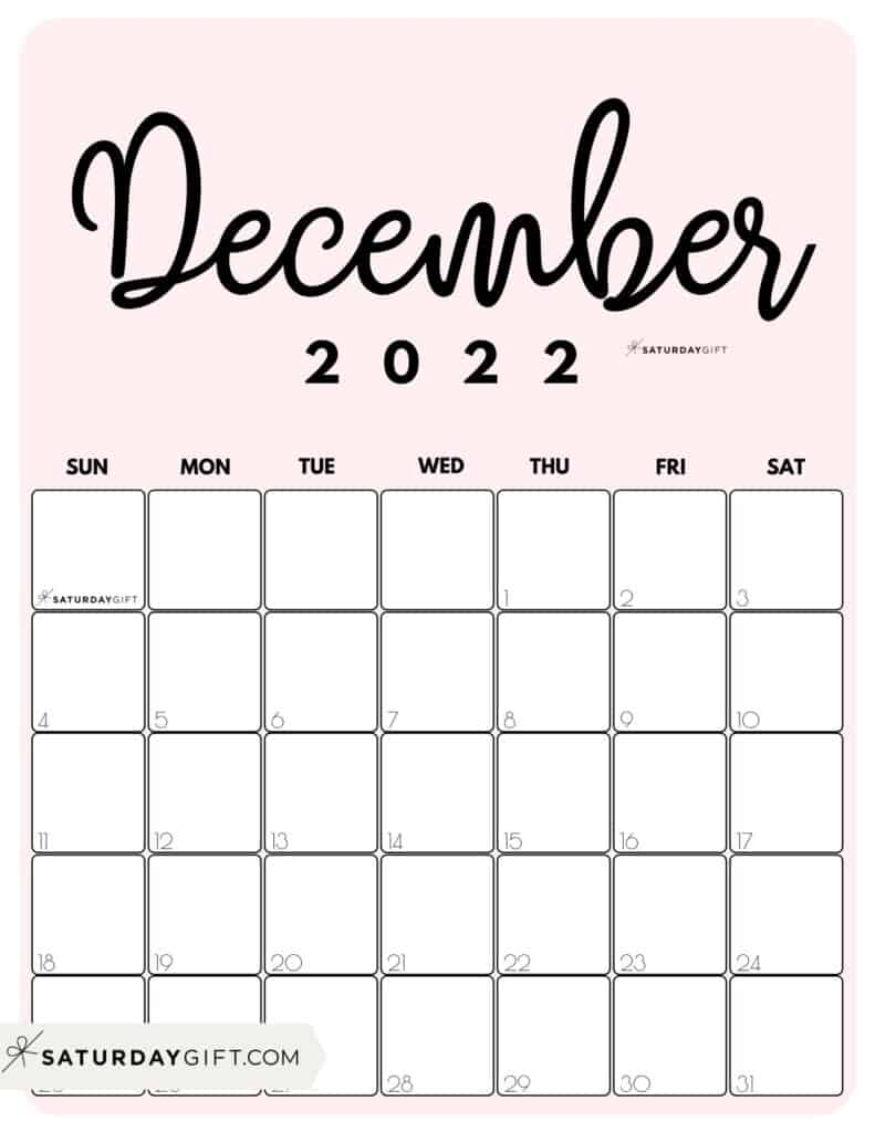 Cute Printable December 2022 Calendar by Month Pink Vertical Sunday-start   SaturdayGift