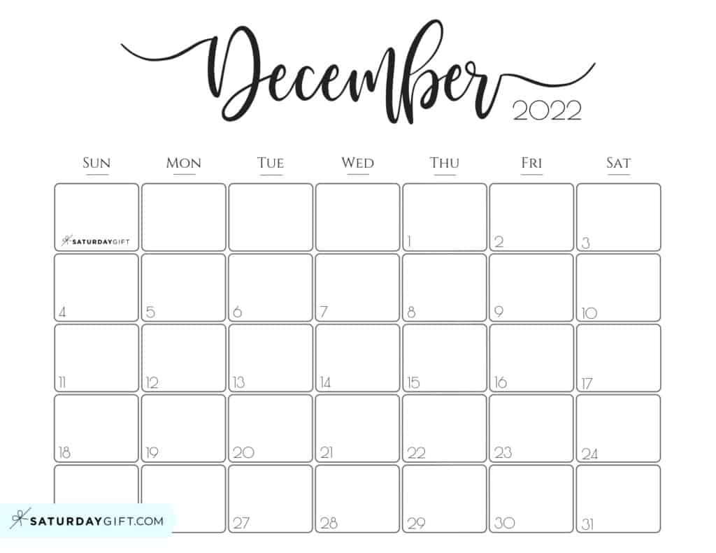 Elegant December 2022 calendar Free Printable Horizontal Landscape Black & White Sunday-Start   SaturdayGift