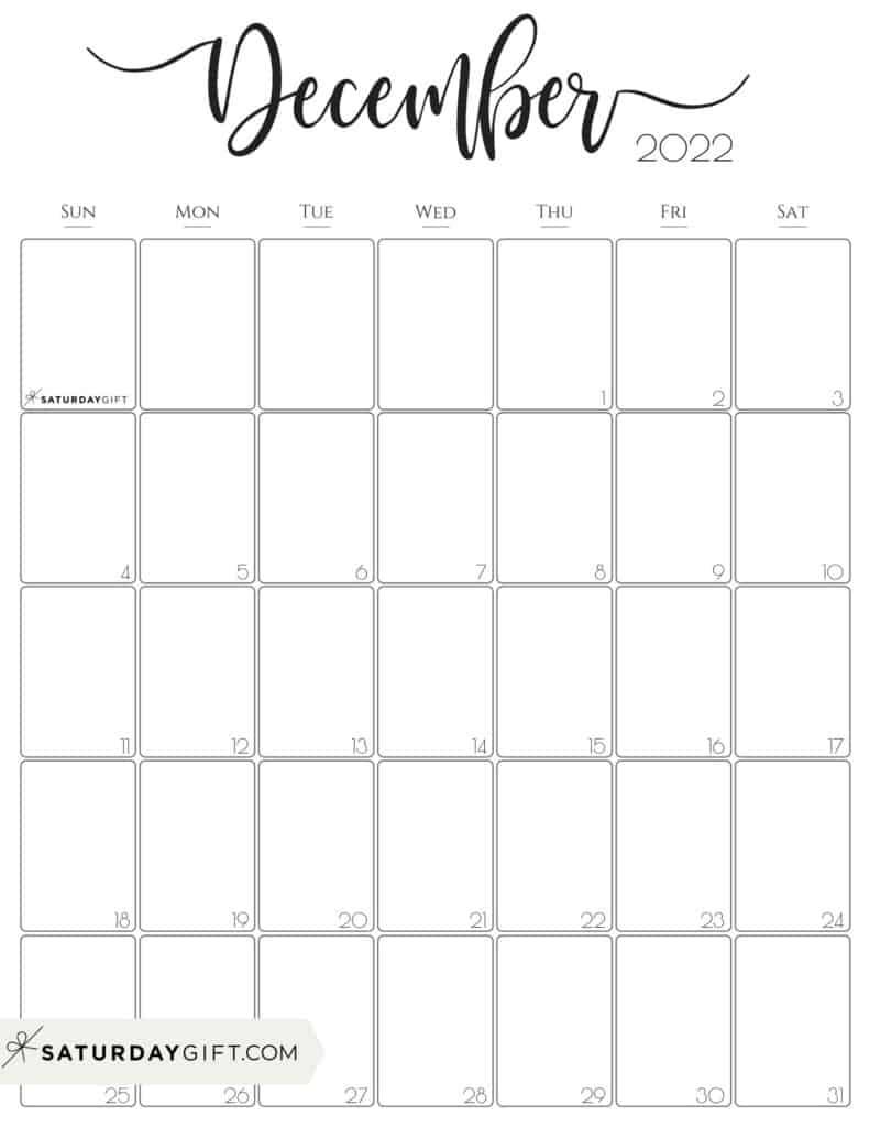 Elegant December 2022 calendar Free Printable Vertical Portrait Black & White Sunday-Start   SaturdayGift