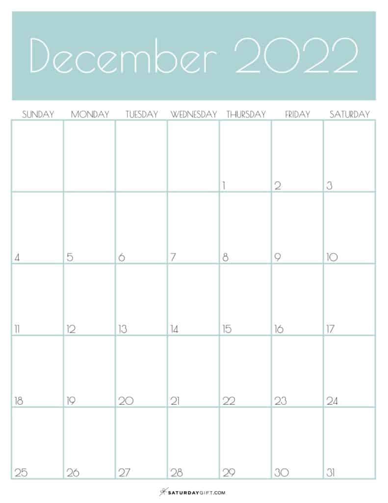 Green Monthly Goals December 2022 Calendar Vertical Sunday-start   SaturdayGift
