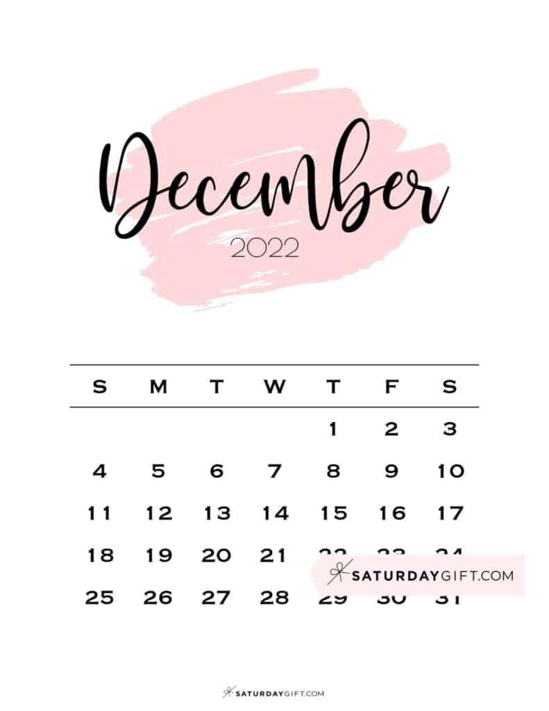 Monthly December 2022 Calendar Minimalistic Pink Brush   SaturdayGift
