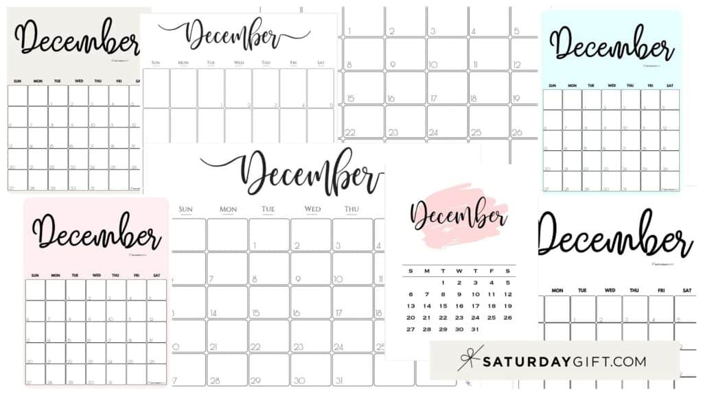 Cute & Free Printable December Monthly Calendars Featured Collage Image