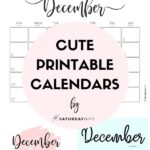 Cute & Free Printable December Monthly Calendars Long Pin Collage Image | SaturdayGift