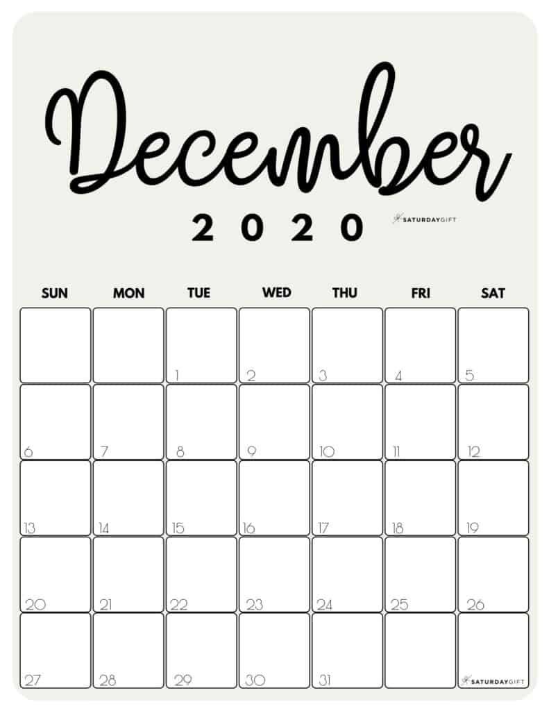 December 2020 Cute Monthly Calendar Beige PDF | SaturdayGift