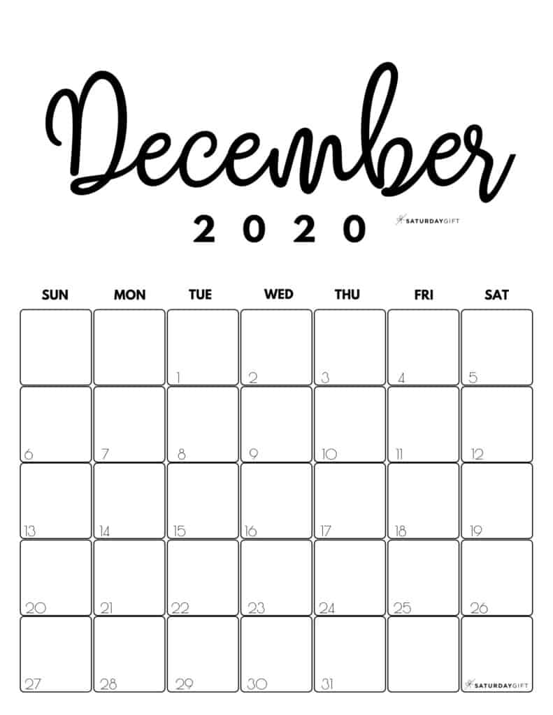 December 2020 Cute Monthly Calendar Black and White PDF | SaturdayGift
