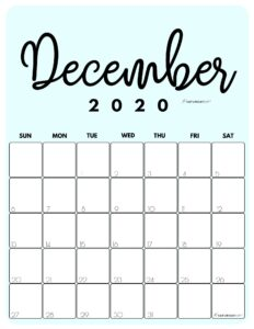 December 2020 Cute printable calendar by month Blue PDF | SaturdayGift