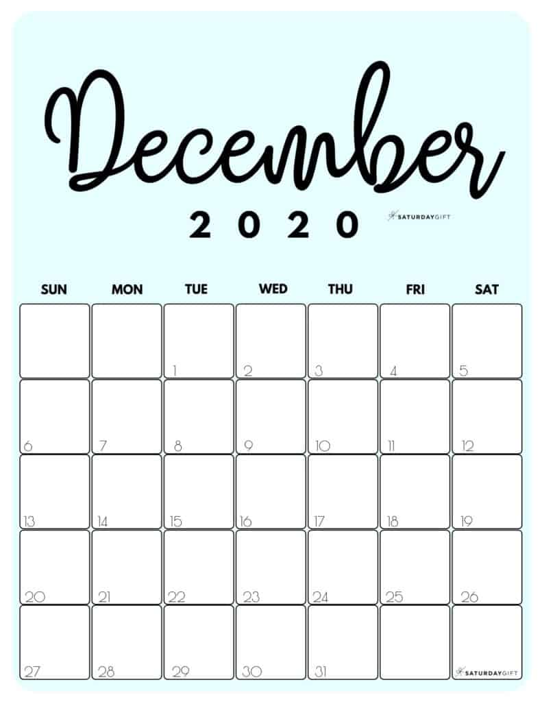 December 2020 Cute printable calendar by month Blue PDF | SaturdayGift