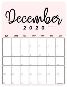 December 2020 Cute printable calendar by month Pink PDF | SaturdayGift