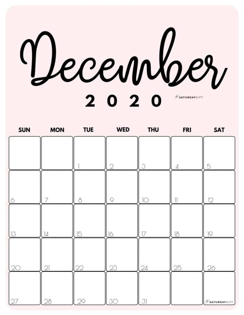 December 2020 Cute printable calendar by month Pink PDF | SaturdayGift