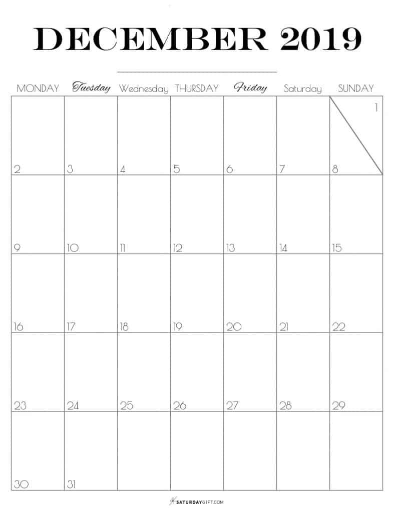 Pretty printable December 2019 Blank Calendar vertical Monday start Dated {Free Printables} | SaturdayGift