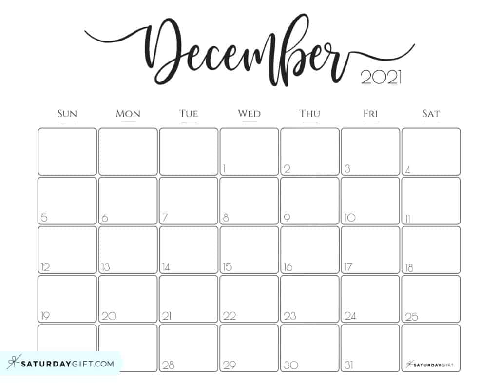 Cute December 2021 Calendar Cute (& Free!) Printable December 2021 Calendar | SaturdayGift