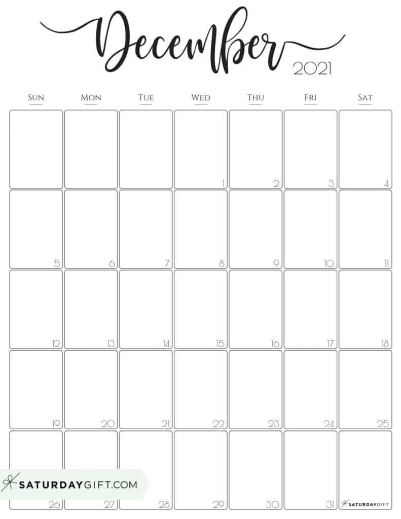 Elegant December 2021 calendar Free Printable Vertical Sunday-Start