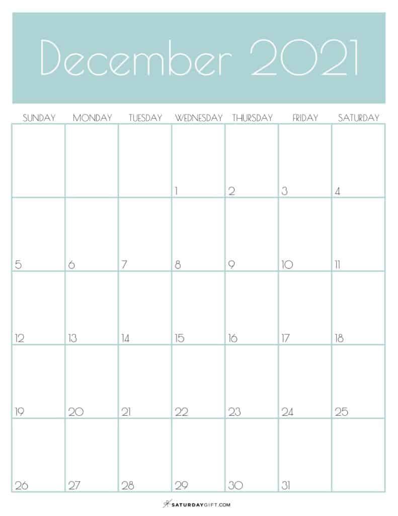 Green Monthly Goals December 2021 Calendar Vertical Sunday-start | SaturdayGift