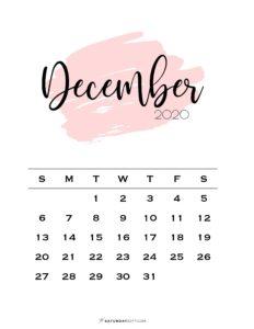 12 Monthly Calendar Pink Brush December 2020 | SaturdayGift
