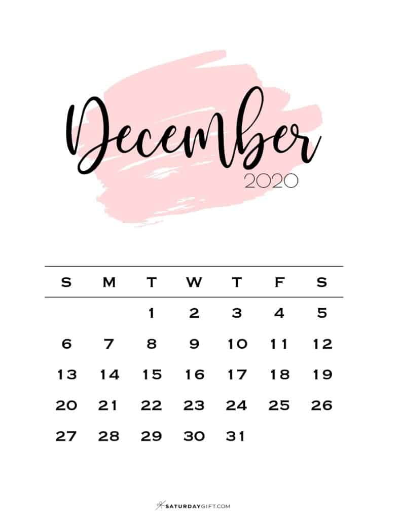 12 Monthly Calendar Pink Brush December 2020 | SaturdayGift