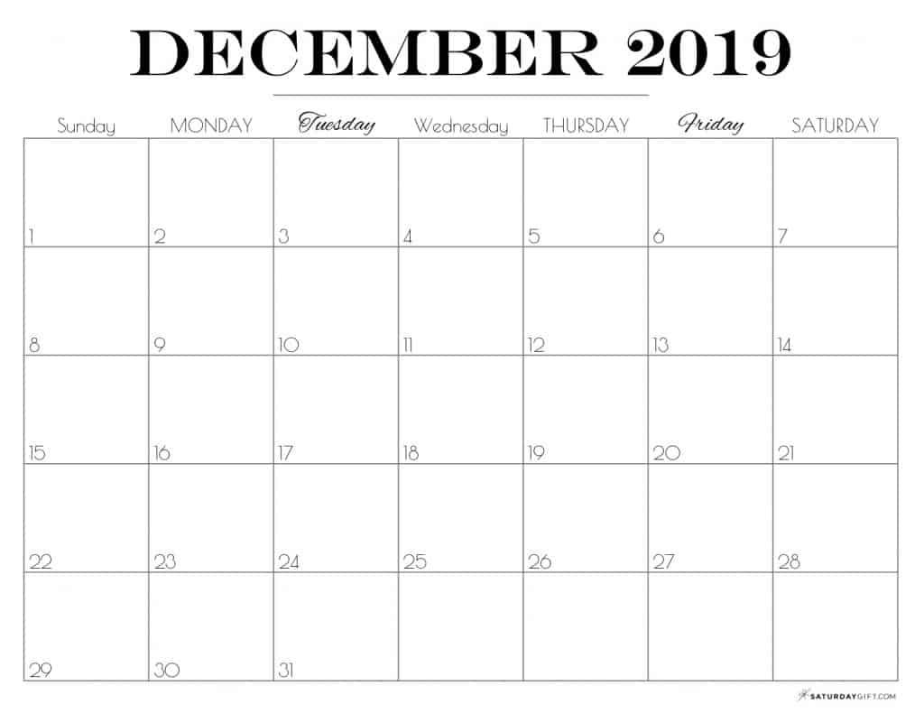 Pretty printable December 2019 Calendar horizontal Sunday start Dated {Free Printables} | SaturdayGift