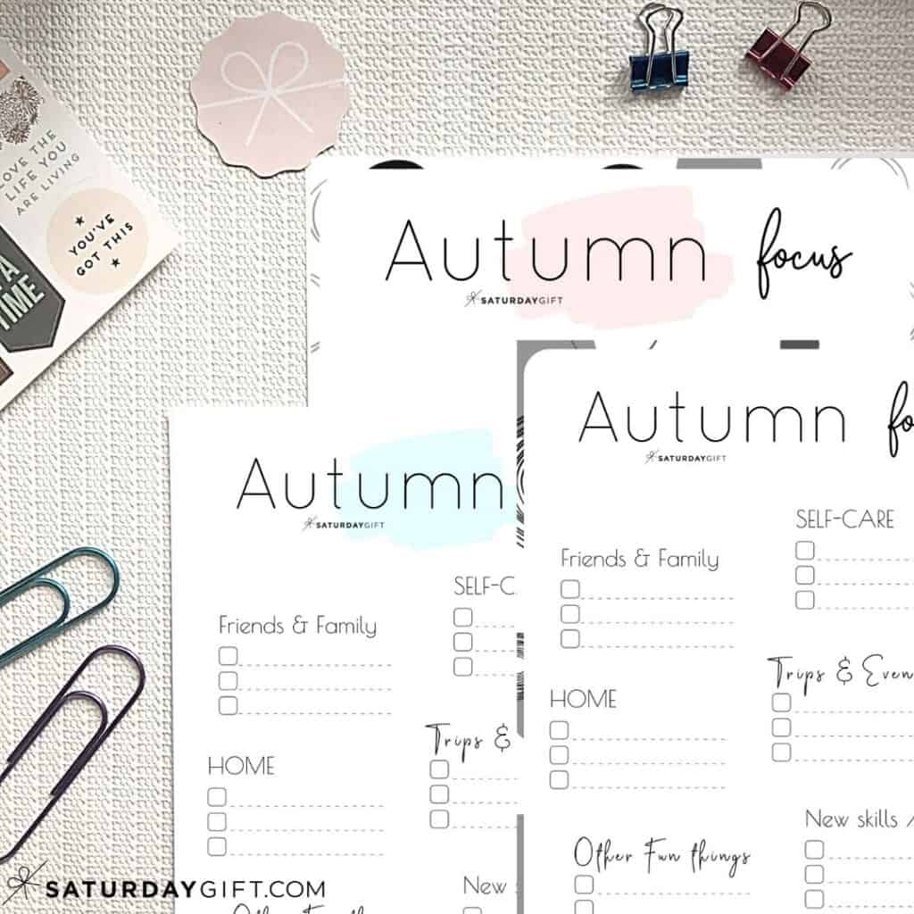 Pink blue and black&white Autumn Plans and Goals Worksheets