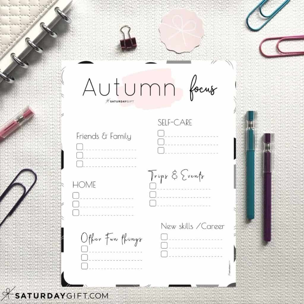 Pink Autumn Plans and Goals Worksheet